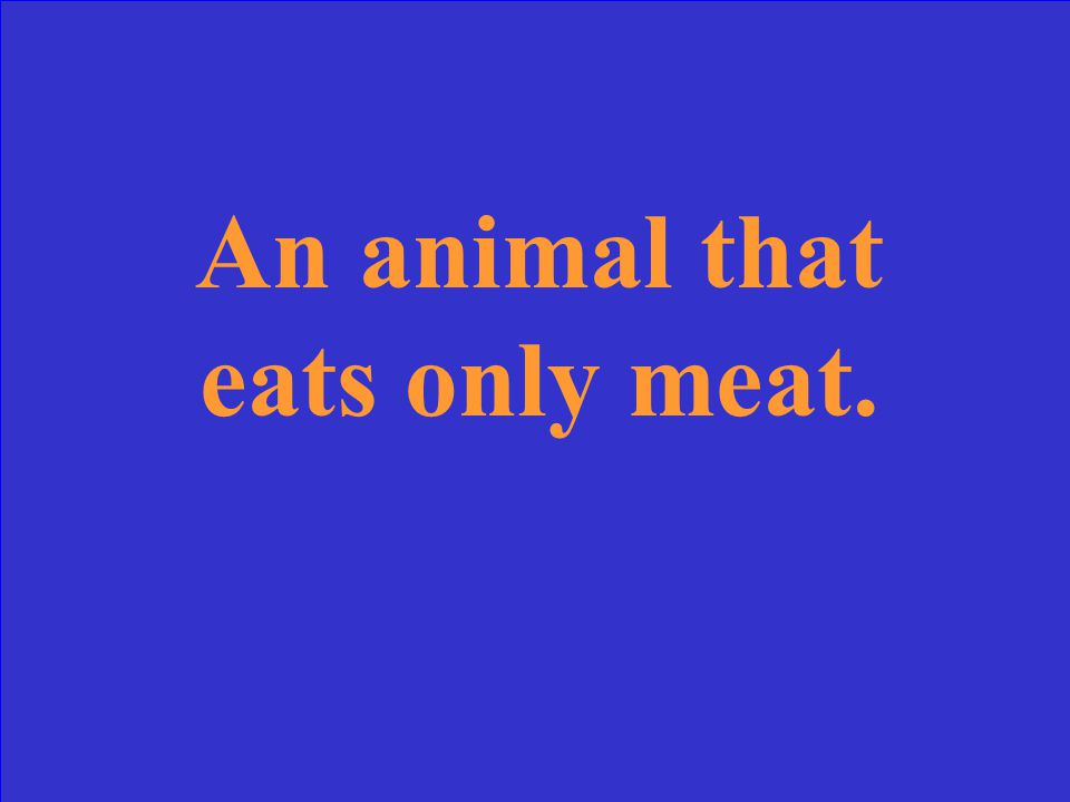 An animal that eats only meat.
