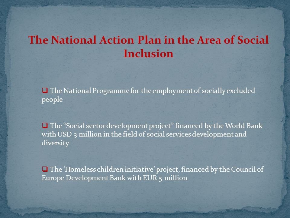 """The National Action Plan in the Area of Social Inclusion  The National Programme for the employment of socially excluded people  The """"Social sector"""