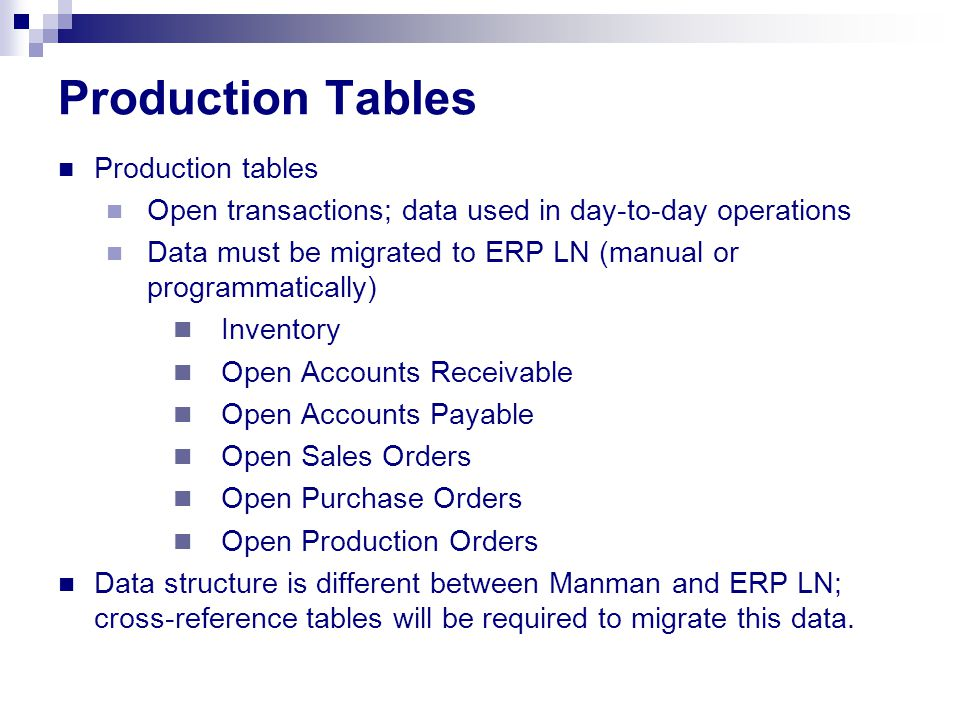 Production Tables Production tables Open transactions; data used in day-to-day operations Data must be migrated to ERP LN (manual or programmatically) Inventory Open Accounts Receivable Open Accounts Payable Open Sales Orders Open Purchase Orders Open Production Orders Data structure is different between Manman and ERP LN; cross-reference tables will be required to migrate this data.