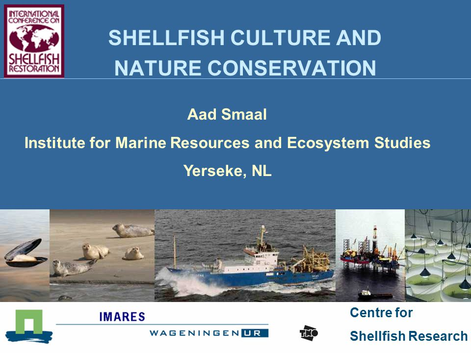 Centre for Shellfish Research SHELLFISH CULTURE AND NATURE CONSERVATION Aad Smaal Institute for Marine Resources and Ecosystem Studies Yerseke, NL