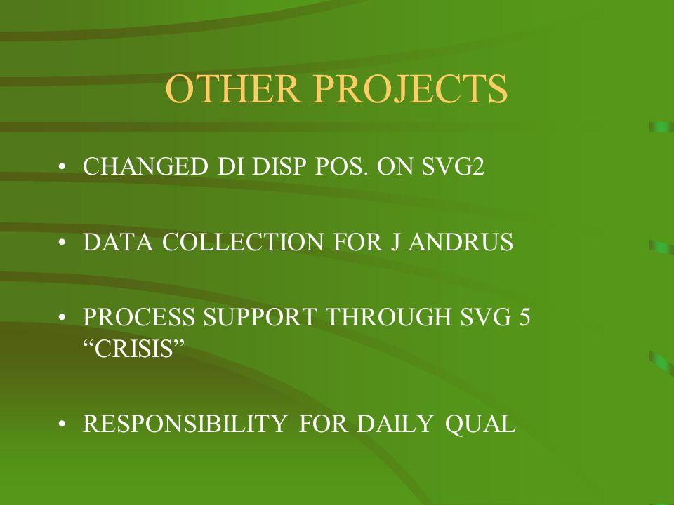 OTHER PROJECTS CHANGED DI DISP POS.
