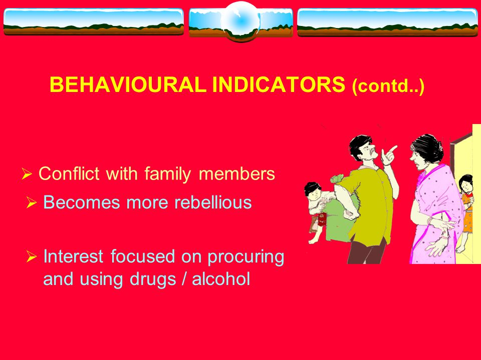 BEHAVIOURAL INDICATORS (contd..)  Decrease in extra curricular activities  Begins adopting drug culture (clothing, hairstyle) ……..
