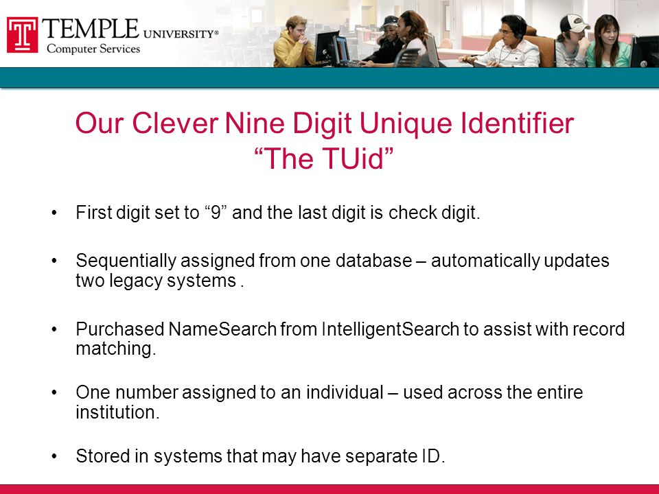 Our Clever Nine Digit Unique Identifier The TUid First digit set to 9 and the last digit is check digit.