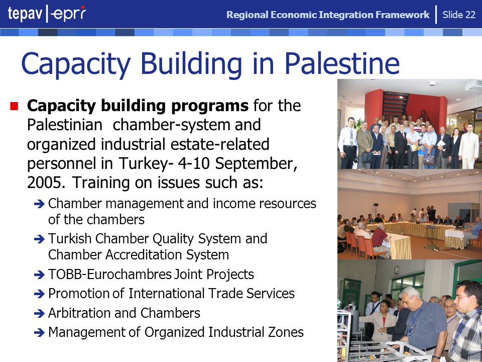 Regional Economic Integration Framework Slide 22 Capacity Building in Palestine Capacity building programs for the Palestinian chamber-system and organized industrial estate-related personnel in Turkey- 4-10 September, 2005.