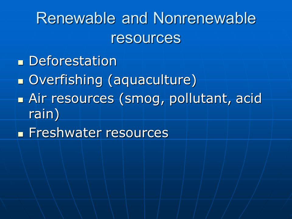 Deforestation Deforestation Overfishing (aquaculture) Overfishing (aquaculture) Air resources (smog, pollutant, acid rain) Air resources (smog, pollutant, acid rain) Freshwater resources Freshwater resources Renewable and Nonrenewable resources