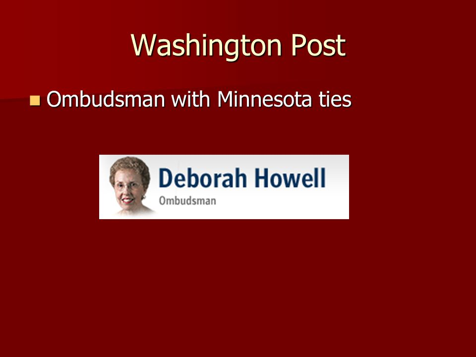 Washington Post Ombudsman with Minnesota ties Ombudsman with Minnesota ties