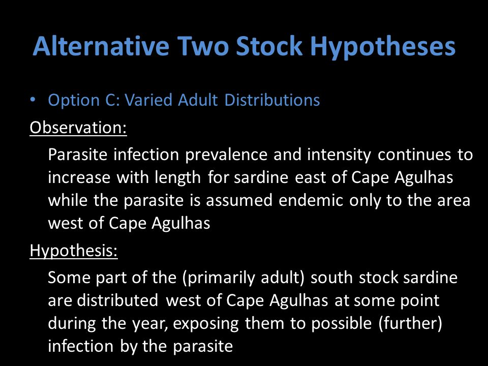 Alternative Two Stock Hypotheses Option C: Varied Adult Distributions Observation: Parasite infection prevalence and intensity continues to increase with length for sardine east of Cape Agulhas while the parasite is assumed endemic only to the area west of Cape Agulhas Hypothesis: Some part of the (primarily adult) south stock sardine are distributed west of Cape Agulhas at some point during the year, exposing them to possible (further) infection by the parasite