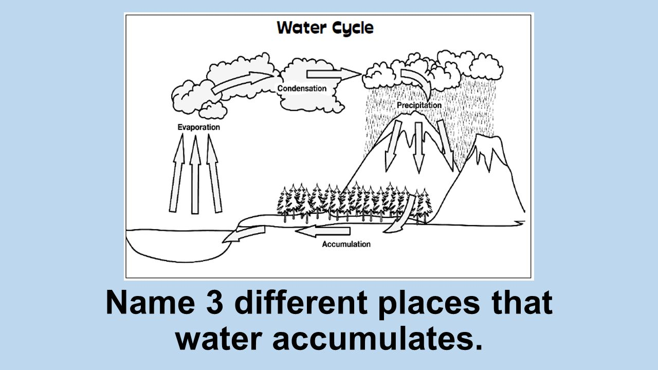 Name 3 different places that water accumulates.