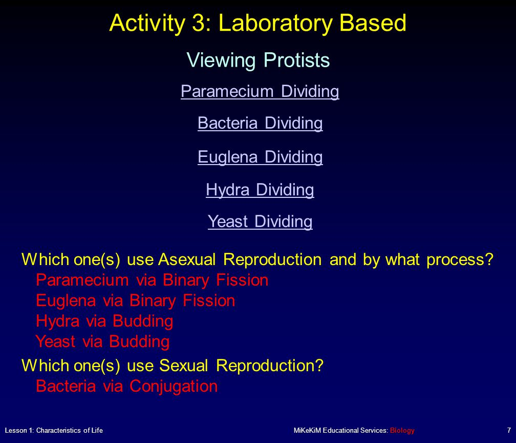 Activity 3: Laboratory Based Lesson 1: Characteristics of LifeMiKeKiM Educational Services: Biology7 Viewing Protists Paramecium Dividing Euglena Dividing Hydra Dividing Yeast Dividing Which one(s) use Asexual Reproduction and by what process.