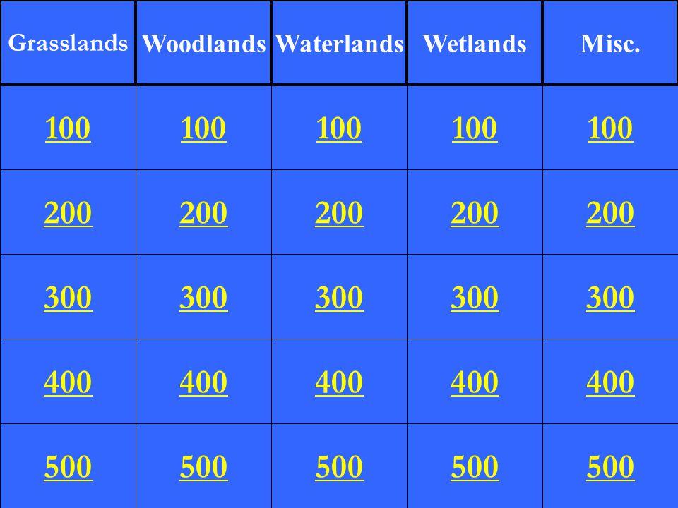 200 300 400 500 100 200 300 400 500 100 200 300 400 500 100 200 300 400 500 100 200 300 400 500 100 Grasslands WoodlandsWaterlandsWetlandsMisc.