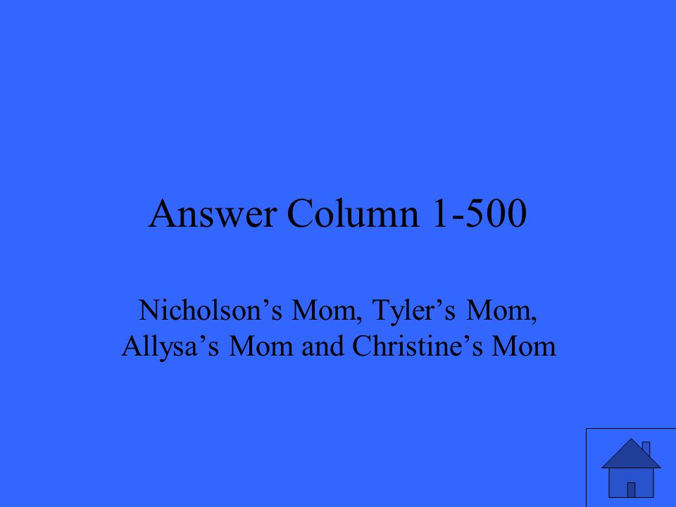 Answer Column 1-500 Nicholson's Mom, Tyler's Mom, Allysa's Mom and Christine's Mom