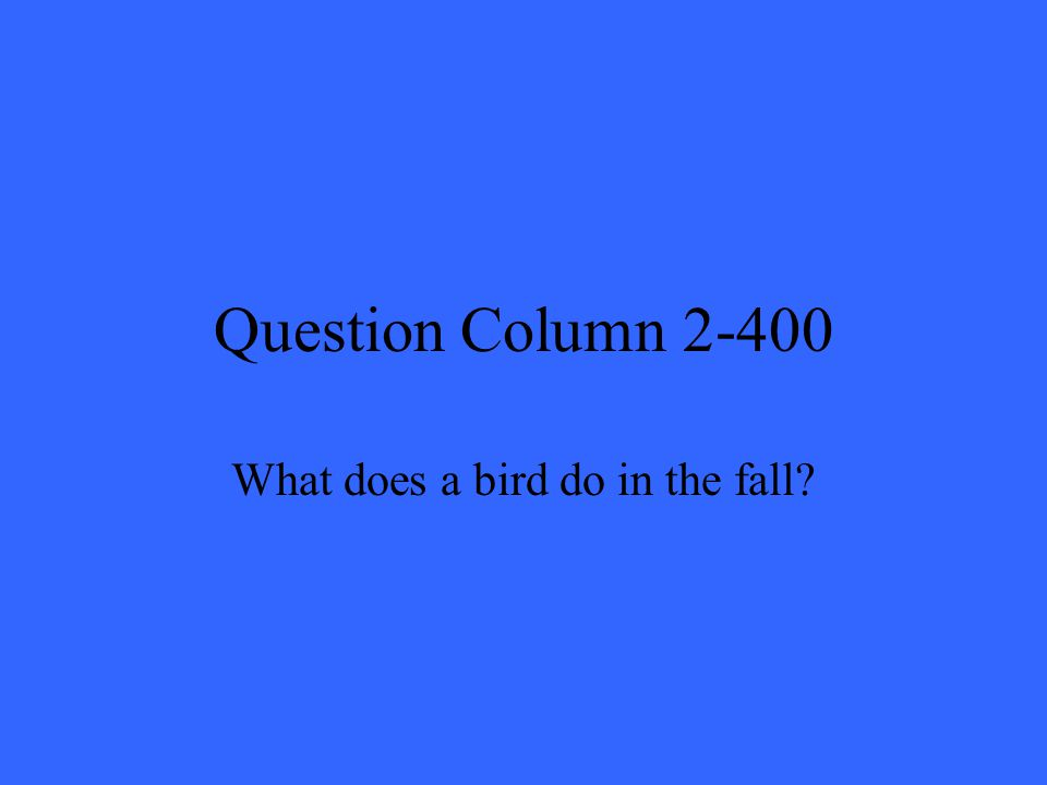 Question Column 2-400 What does a bird do in the fall?