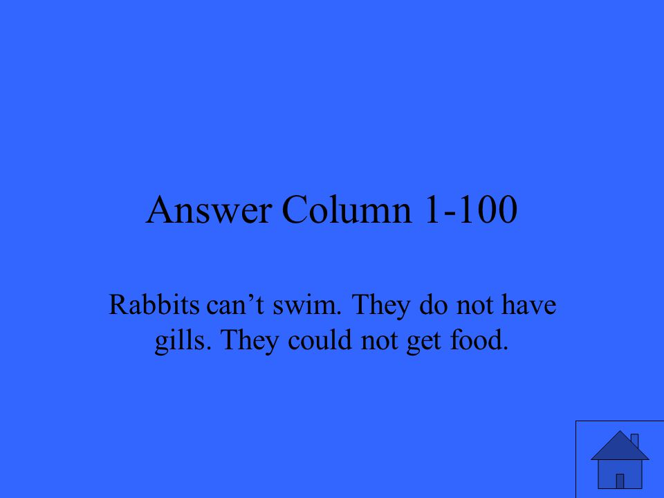 Answer Column 1-100 Rabbits can't swim. They do not have gills. They could not get food.