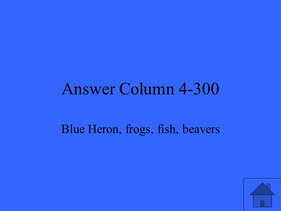 Answer Column 4-300 Blue Heron, frogs, fish, beavers