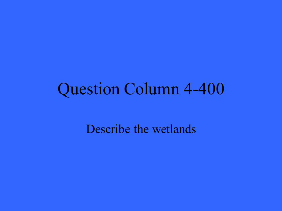 Question Column 4-400 Describe the wetlands
