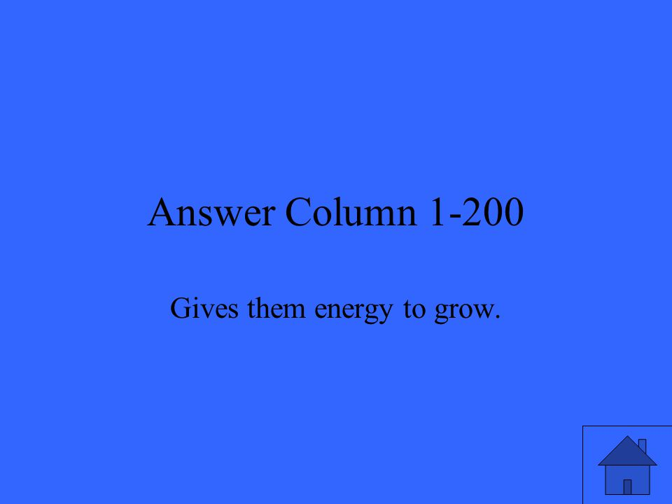 Answer Column 1-200 Gives them energy to grow.