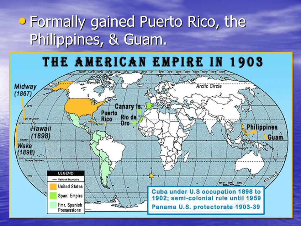 Spanish-American War 1898 Cubans revolted against brutal Spanish rule. Cubans revolted against brutal Spanish rule. U.S. ousted Spain and U.S. busines