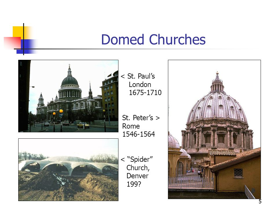 "5 Domed Churches < St. Paul's London 1675-1710 St. Peter's > Rome 1546-1564 < ""Spider"" Church, Denver 199?"