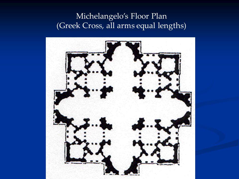 Michelangelo's Floor Plan (Greek Cross, all arms equal lengths)