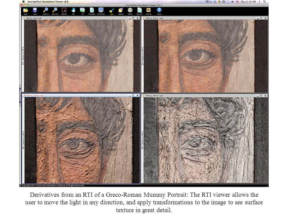 Derivatives from an RTI of a Greco-Roman Mummy Portrait: The RTI viewer allows the user to move the light in any direction, and apply transformations to the image to see surface texture in great detail.