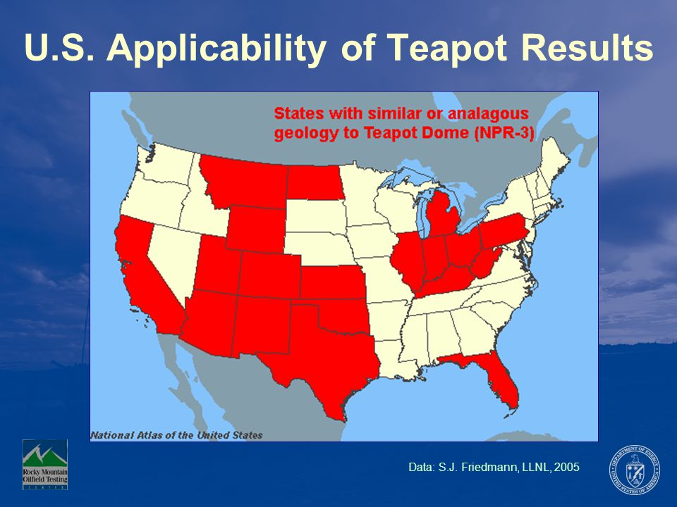 U.S. Applicability of Teapot Results Data: S.J. Friedmann, LLNL, 2005