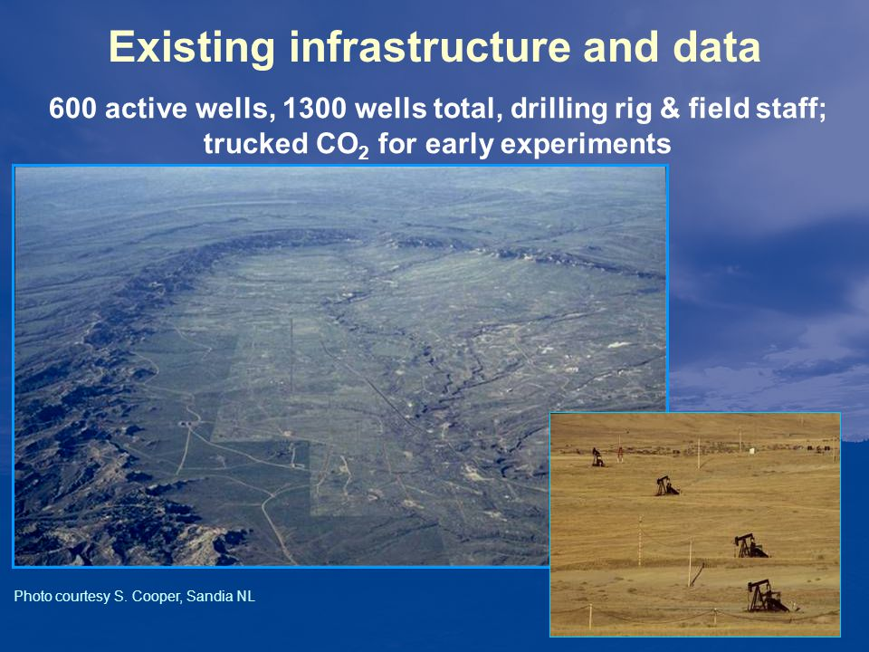 Existing infrastructure and data 600 active wells, 1300 wells total, drilling rig & field staff; trucked CO 2 for early experiments Photo courtesy S.
