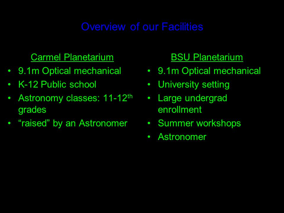 What is a Planetarium today? We are in the business of delivering understanding…