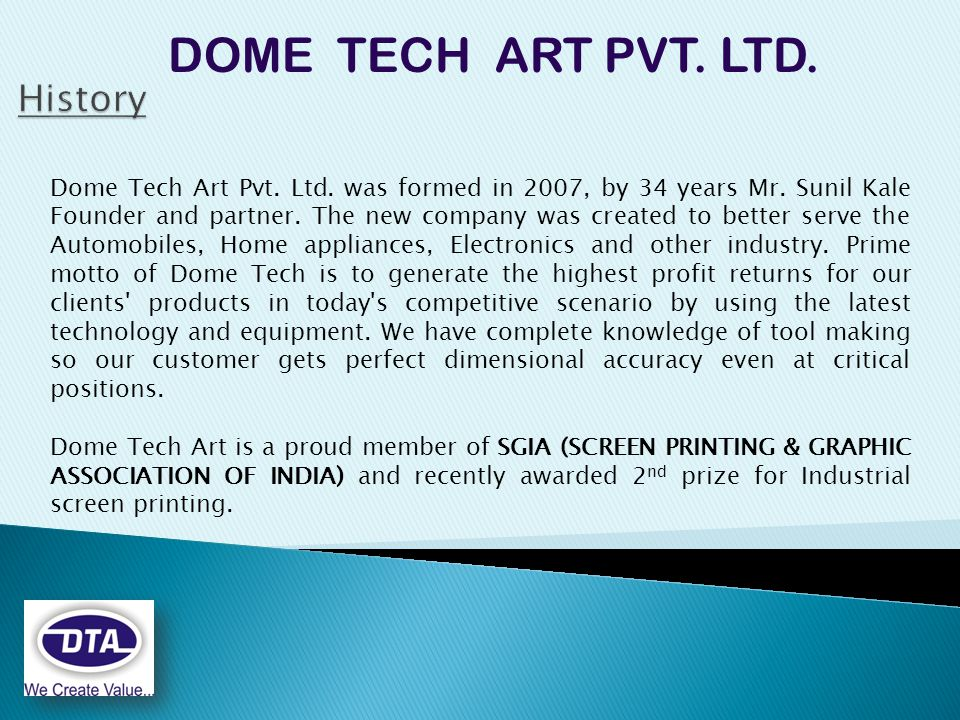 DOME TECH ART PVT. LTD. Dome Tech Art Pvt. Ltd.