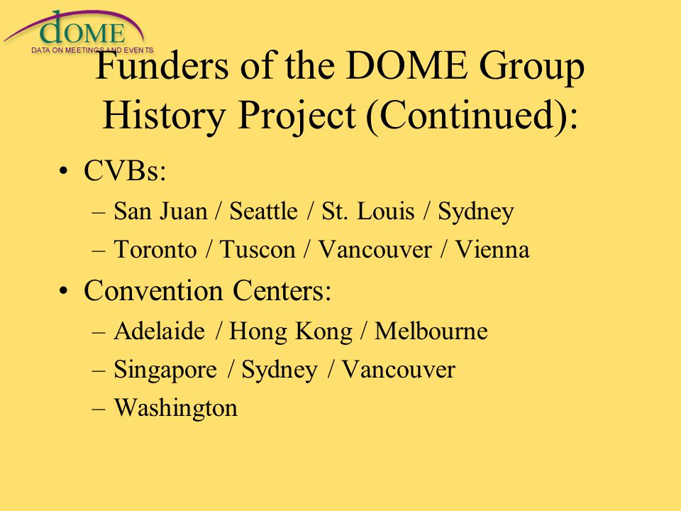 Funders of the DOME Group History Project (Continued): CVBs: –San Juan / Seattle / St.