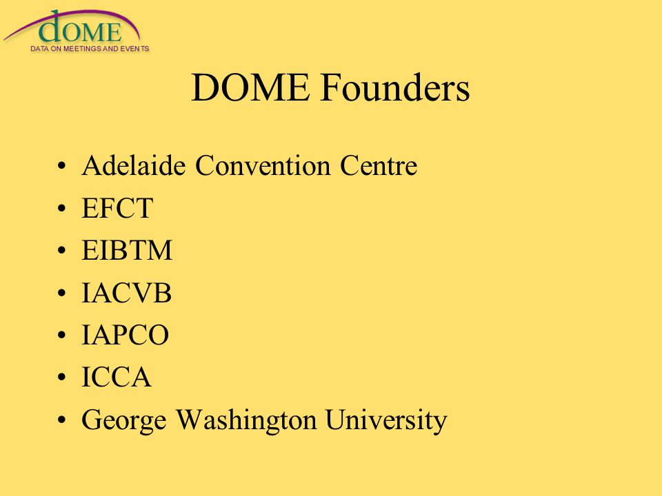 DOME Founders Adelaide Convention Centre EFCT EIBTM IACVB IAPCO ICCA George Washington University