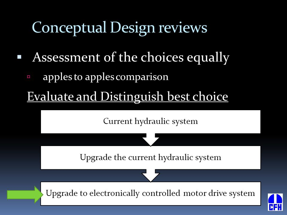 Conceptual Design reviews  Assessment of the choices equally  apples to apples comparison Evaluate and Distinguish best choice Upgrade to electronic