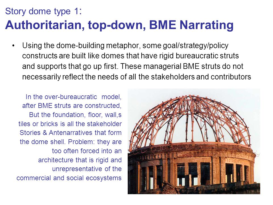 Story dome type 1 : Authoritarian, top-down, BME Narrating Using the dome-building metaphor, some goal/strategy/policy constructs are built like domes that have rigid bureaucratic struts and supports that go up first.