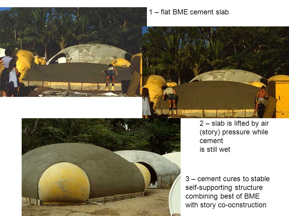 1 – flat BME cement slab 2 – slab is lifted by air (story) pressure while cement is still wet 3 – cement cures to stable self-supporting structure com