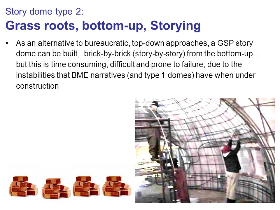 Story dome type 2: Grass roots, bottom-up, Storying As an alternative to bureaucratic, top-down approaches, a GSP story dome can be built, brick-by-brick (story-by-story) from the bottom-up...