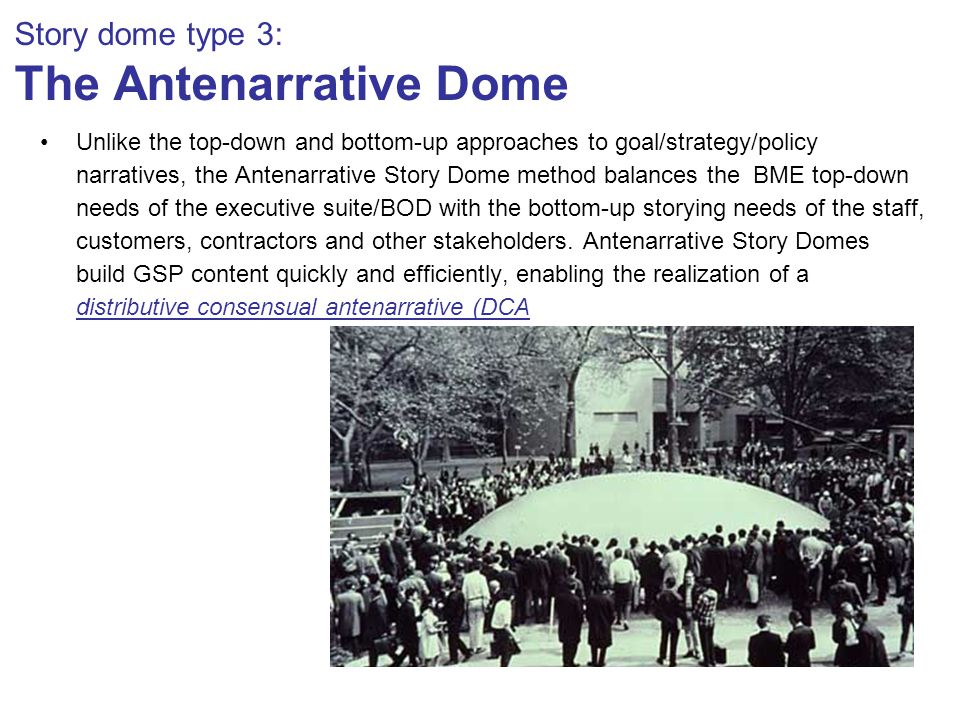 Story dome type 3: The Antenarrative Dome Unlike the top-down and bottom-up approaches to goal/strategy/policy narratives, the Antenarrative Story Dome method balances the BME top-down needs of the executive suite/BOD with the bottom-up storying needs of the staff, customers, contractors and other stakeholders.