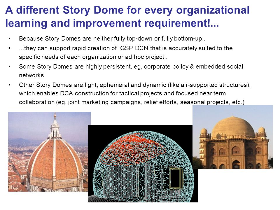 A different Story Dome for every organizational learning and improvement requirement!...