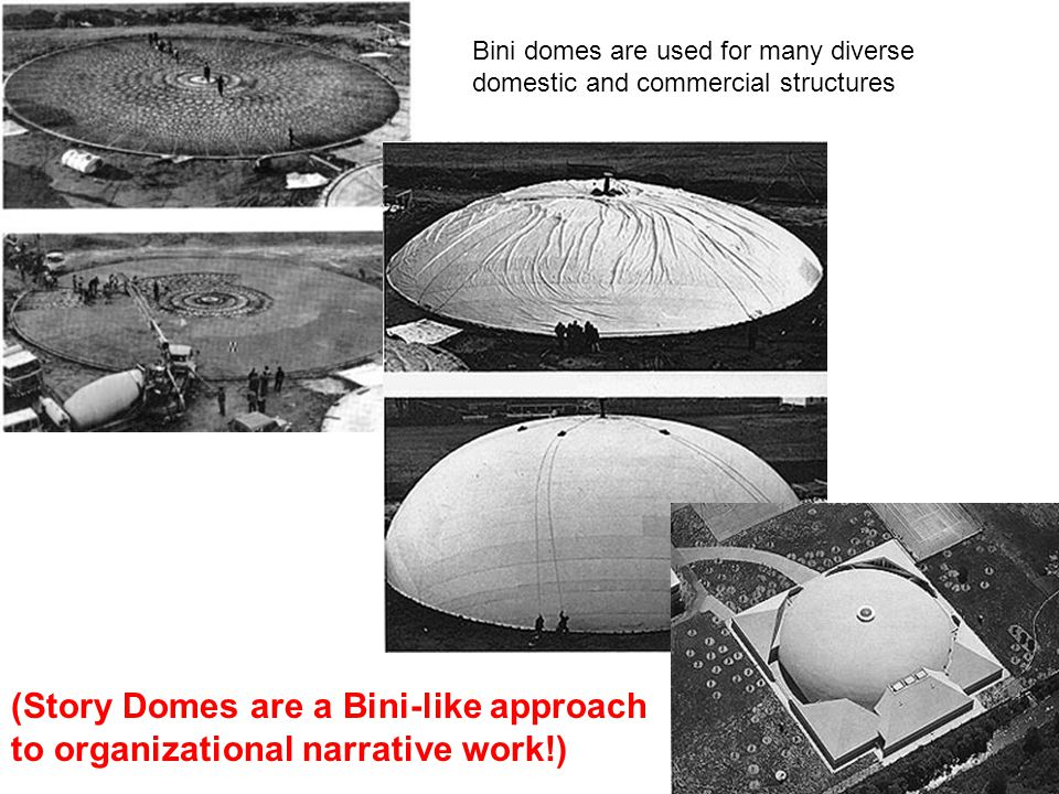 Bini domes are used for many diverse domestic and commercial structures (Story Domes are a Bini-like approach to organizational narrative work!)