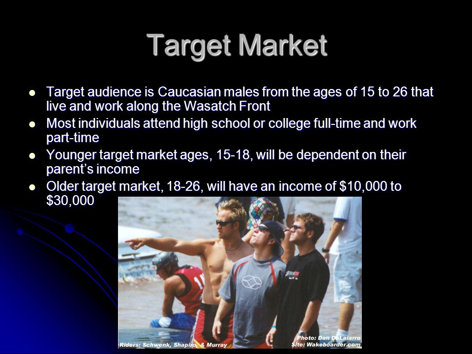 Target Market Target audience is Caucasian males from the ages of 15 to 26 that live and work along the Wasatch Front Target audience is Caucasian males from the ages of 15 to 26 that live and work along the Wasatch Front Most individuals attend high school or college full-time and work part-time Most individuals attend high school or college full-time and work part-time Younger target market ages, 15-18, will be dependent on their parent's income Younger target market ages, 15-18, will be dependent on their parent's income Older target market, 18-26, will have an income of $10,000 to $30,000 Older target market, 18-26, will have an income of $10,000 to $30,000