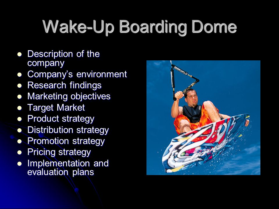 Wake-Up Boarding Dome Description of the company Description of the company Company's environment Company's environment Research findings Research findings Marketing objectives Marketing objectives Target Market Target Market Product strategy Product strategy Distribution strategy Distribution strategy Promotion strategy Promotion strategy Pricing strategy Pricing strategy Implementation and evaluation plans Implementation and evaluation plans
