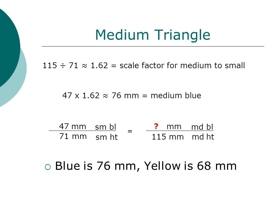 Medium Triangle  Blue is 76 mm, Yellow is 68 mm 115 ÷ 71 ≈ 1.62 = scale factor for medium to small 47 x 1.62 ≈ 76 mm = medium blue 47 mm 71 mm 115 mm .