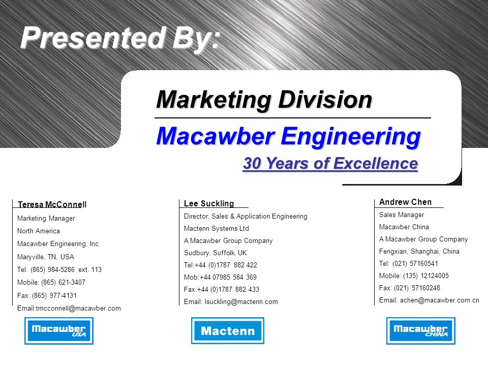 Presented By: Marketing Division Macawber Engineering 30 Years of Excellence Lee Suckling Director, Sales & Application Engineering Mactenn Systems Ltd A Macawber Group Company Sudbury, Suffolk, UK Tel:+44 (0)1787 882 422 Mob:+44 07985 584 369 Fax:+44 (0)1787 882 433 Email: lsuckling@mactenn.com Andrew Chen Sales Manager Macawber China A Macawber Group Company Fengxian, Shanghai, China Tel: (021) 57160541 Mobile: (135) 12124005 Fax: (021) 57160248 Email: achen@macawber.com.cn Teresa McConnell Marketing Manager North America Macawber Engineering, Inc.