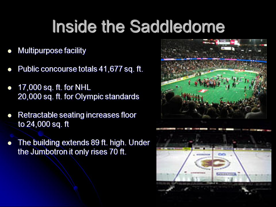 Inside the Saddledome Multipurpose facility Multipurpose facility Public concourse totals 41,677 sq.