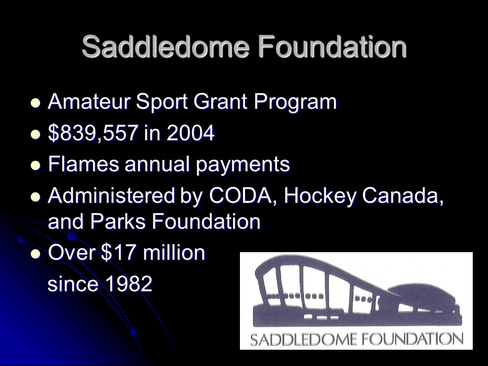 Saddledome Foundation Amateur Sport Grant Program Amateur Sport Grant Program $839,557 in 2004 $839,557 in 2004 Flames annual payments Flames annual payments Administered by CODA, Hockey Canada, and Parks Foundation Administered by CODA, Hockey Canada, and Parks Foundation Over $17 million Over $17 million since 1982 since 1982