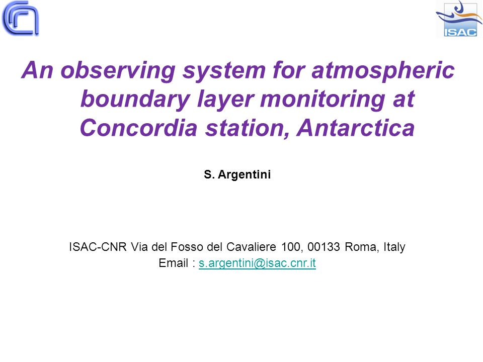 An observing system for atmospheric boundary layer monitoring at Concordia station, Antarctica S.