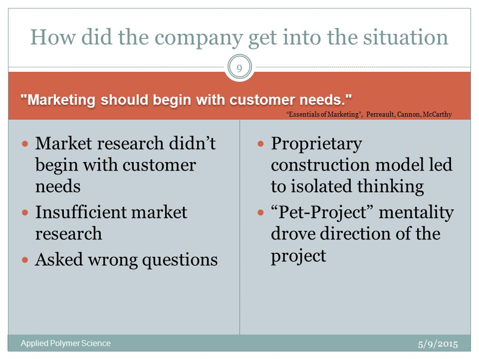 Marketing should begin with customer needs. 5/9/2015 Applied Polymer Science Market research didn't begin with customer needs Insufficient market research Asked wrong questions Proprietary construction model led to isolated thinking Pet-Project mentality drove direction of the project 9 How did the company get into the situation Essentials of Marketing , Perreault, Cannon, McCarthy