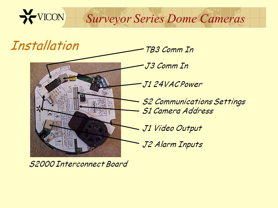 Surveyor Series Dome Cameras Installation S2000 Interconnect Board TB3 Comm In J3 Comm In S2 Communications Settings S1 Camera Address J1 Video Output