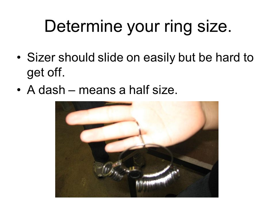 Determine your ring size. Sizer should slide on easily but be hard to get off.