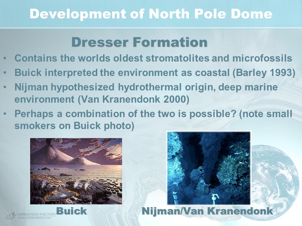Development of North Pole Dome Contains the worlds oldest stromatolites and microfossils Buick interpreted the environment as coastal (Barley 1993) Ni