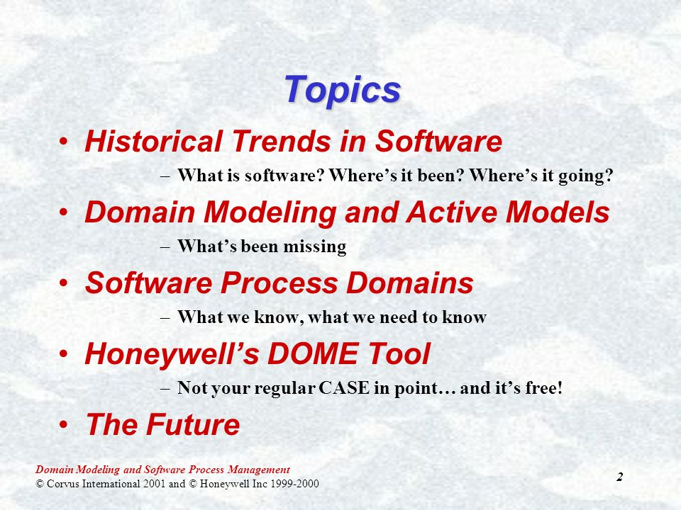 Domain Modeling and Software Process Management © Corvus International 2001 and © Honeywell Inc 1999-2000 33 Software Process Domains Building Domain Models Domain Knowledge Build Domain Specific Model Application Knowledge Domain Specific Model Application Specific Model