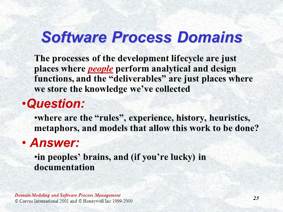 Domain Modeling and Software Process Management © Corvus International 2001 and © Honeywell Inc 1999-2000 25 Software Process Domains The processes of the development lifecycle are just places where people perform analytical and design functions, and the deliverables are just places where we store the knowledge we've collected Question: where are the rules , experience, history, heuristics, metaphors, and models that allow this work to be done.